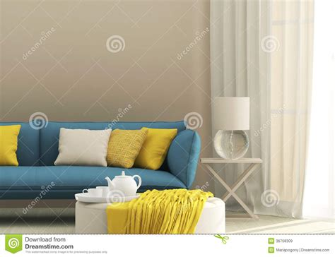 blue and yellow sofa light interior with blue sofa stock image image of