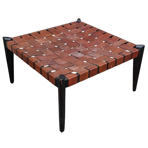 bench ottoman fabulous large square woven leather bench or ottoman at 1stdibs