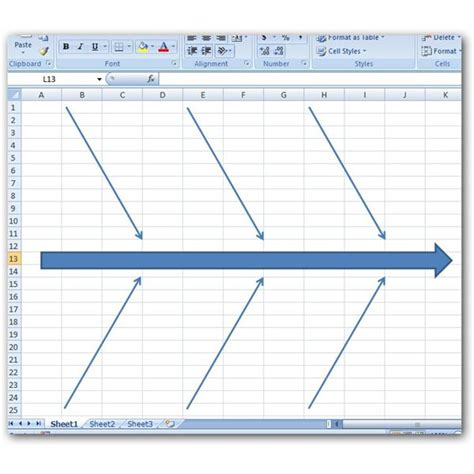 ishikawa diagram excel how to create a fishbone diagram in microsoft excel 2007