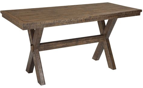 walnord rustic brown rectangular counter dining table from