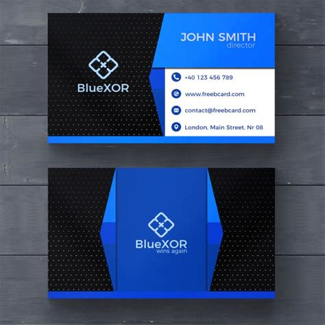 blue id card template blue and black modern business card psd file free