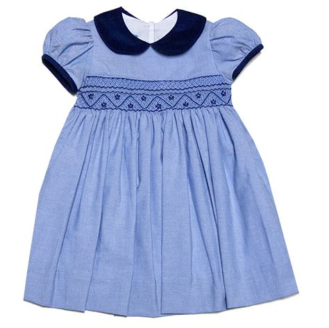 baby navy blue dress anavini baby toddler blue twill smocked float