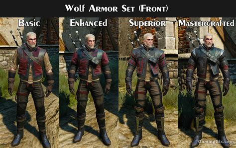 witcher 3 wolf location school gear witcher armor set looks visual comparison on each tier