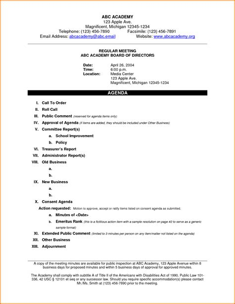 7 sle meeting agendas divorce document