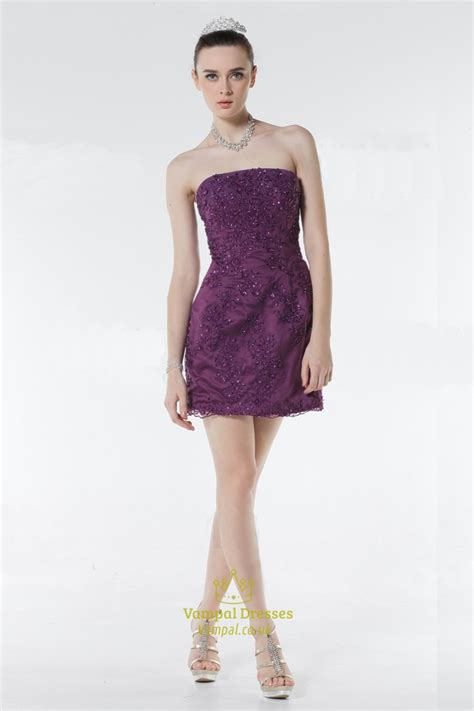 purple cocktail cute short cocktail party dresses flower embroidered lace