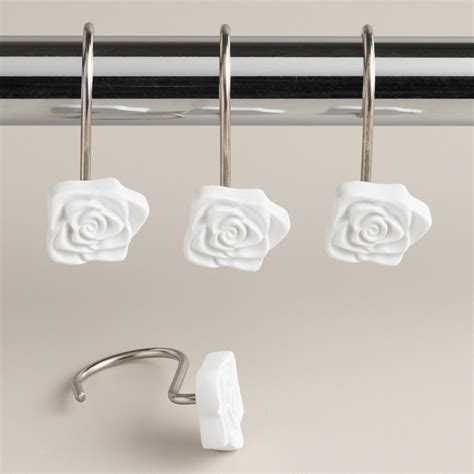 rose shower curtain hooks white rose shower curtain hooks set of 12 world market