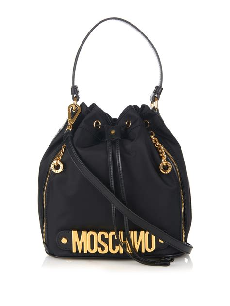 Room Designer App moschino lettering leather and nylon bucket bag in black