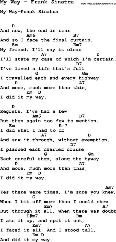 song ukulele chords song my way by frank sinatra with lyrics for vocal
