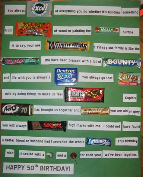 top 50 candy bars 50th birthday card with candy bars