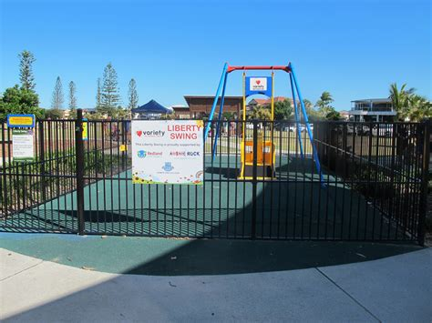 liberty swing wheelchair friendly playground at raby bay foreshore park