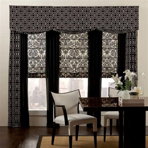 drapes with matching valances add pattern to simple rooms with roman shades grommet