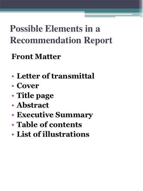 Recommendation Report Letter Of Transmittal Recommendation Report