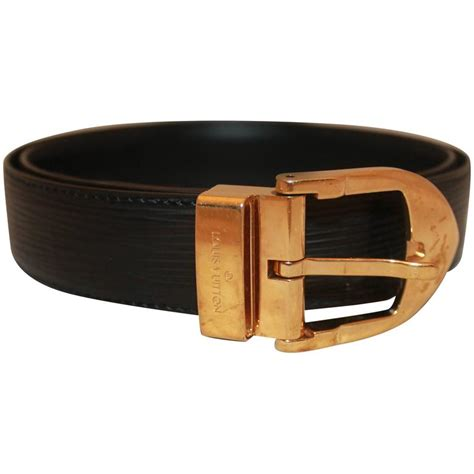 louis vuitton brown epi leather belt w gold rounded