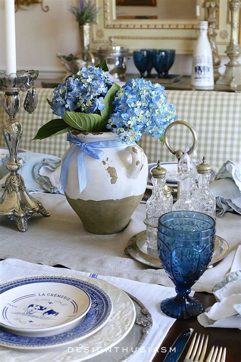 country french blue  white tablescape french country