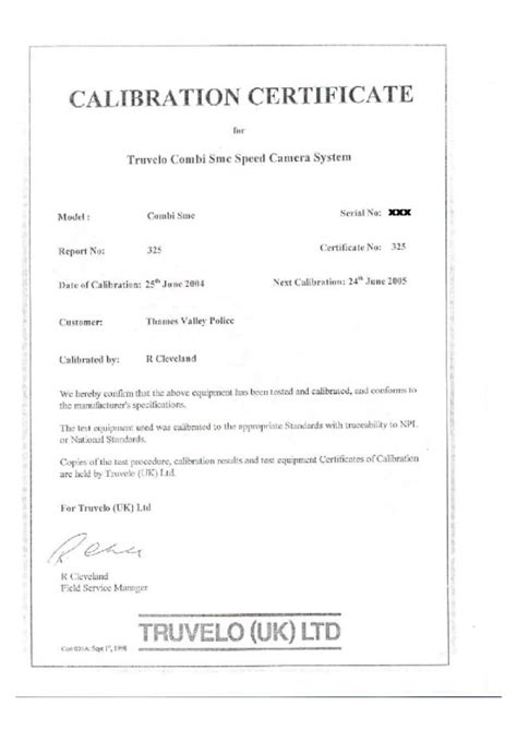 calibration certificate template certification safer roads