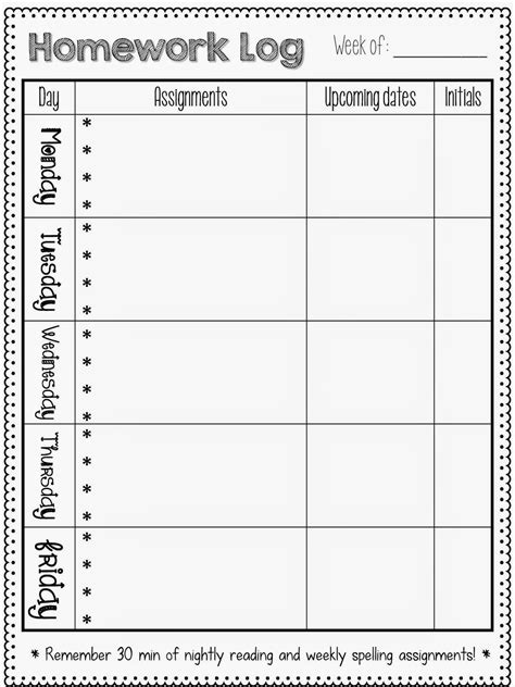 printable monthly reading log for kindergarten homework logs sparkles smiles and successful students