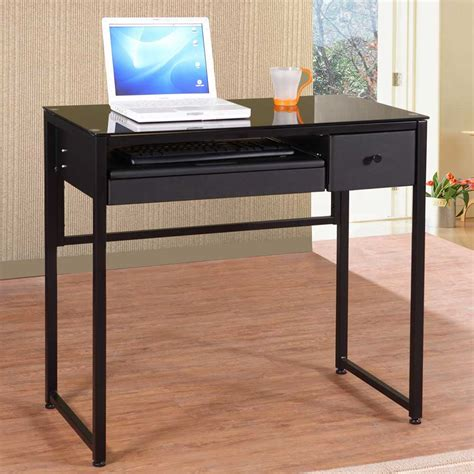 Small Black Glass Desk Black Glass Computer Desk For Home Office