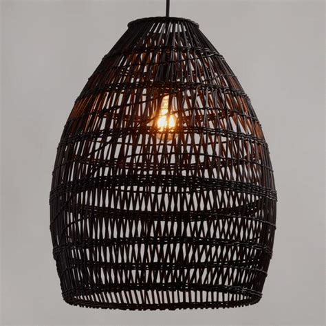 world market l shades black woven bamboo pendant shade world market