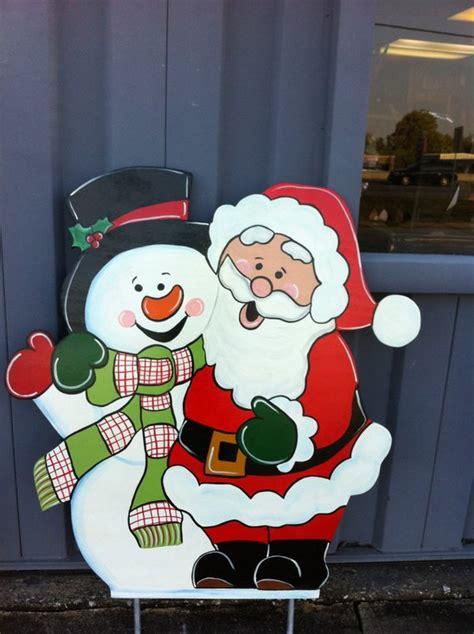 santa wood yard art santa snowman wooden yard