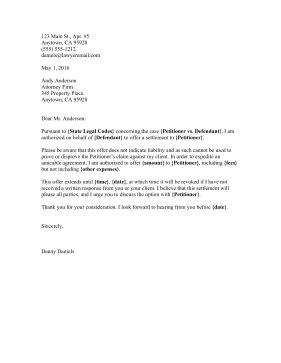 Offer Letter Lawyer Settlement Offer Letter Template Letter Template 2017