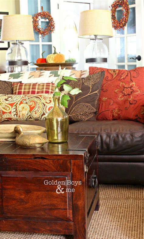 living room with brown couches golden boys and me diy home decor fall living room