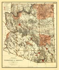arizona territory map state maps arizona territory az by bien 1887