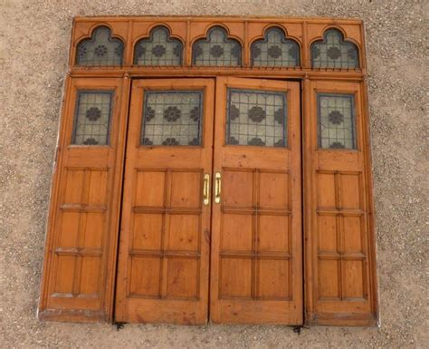 antique room divider with pair of victorian pine doors wood