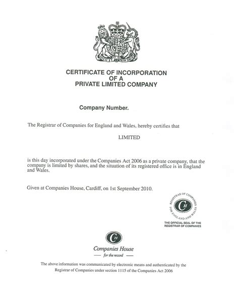 What Is A Certificate Of Incorporation Company Address Certificate Of Incorporation Template Word