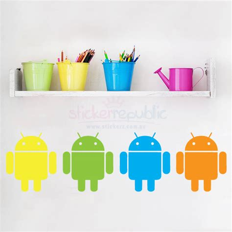 colourful wall stickers colourful robot android wall stickers
