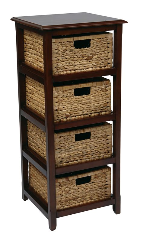 accent table with baskets 4 drawer espresso or white wood storage tower w baskets