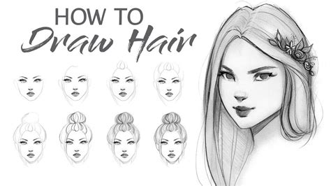 step by step hairstyles to draw how to draw hair step by step tutorial youtube