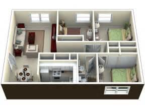 1 Bedroom Apts 3d image for the 3 bedroom floor plan