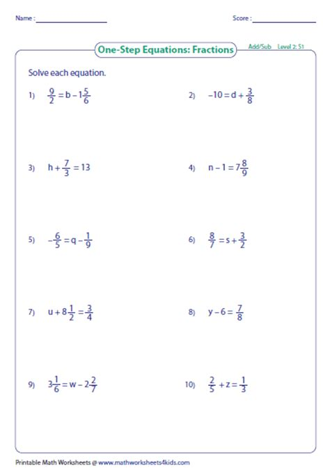 One Step Equations Worksheet by One Step Equation Addition And Subtraction