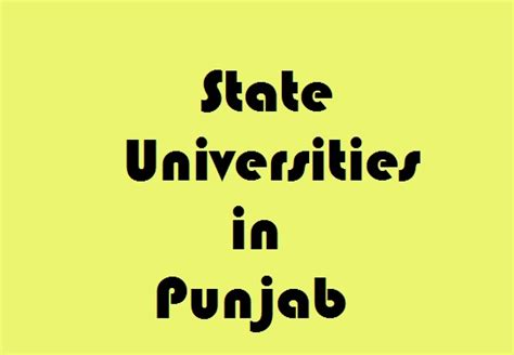 Mba Colleges In Punjab by State Universities In Punjab Govt Info