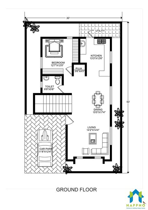 building plans homes free floor plan for 30 x 50 plot 3 bhk 1500 square 167 sq yards ghar 038 happho
