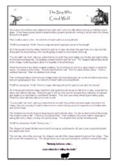 printable version of the boy who cried wolf the boy who cried wolf humorous story worksheet and