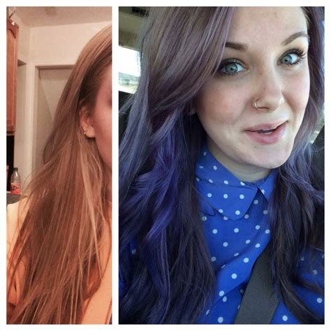 ion color brilliance brights mixed with developer purple hair before and after ion color brilliance brights