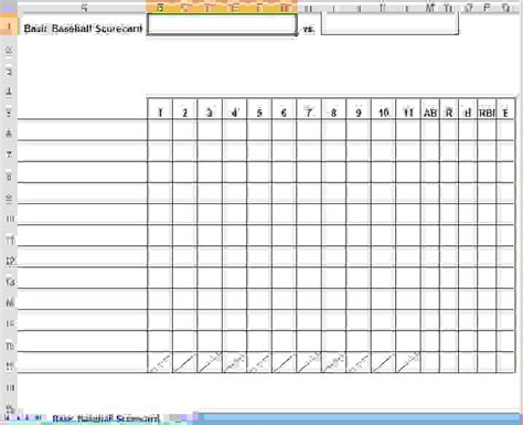 Printable Baseball Scorecard