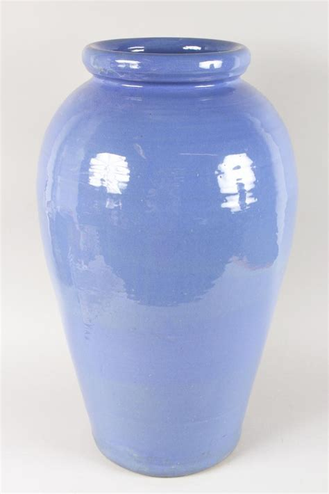 High Vase by A Large Blue Pottery Vase 2ft 1ins High