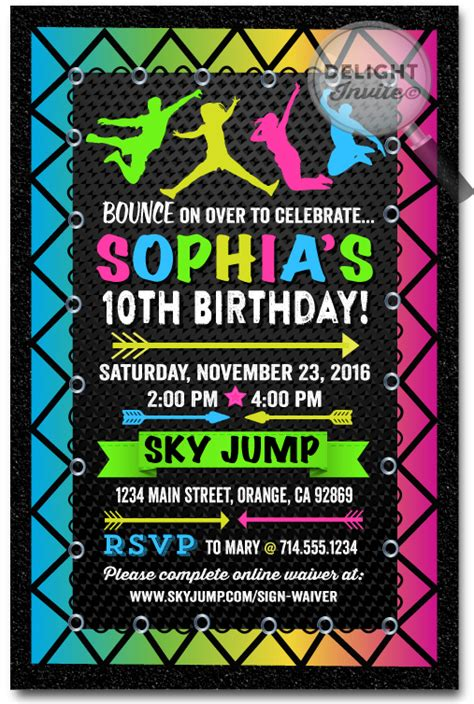 Neon Troline Jump Party Birthday Invitations Di 647 Harrison Greetings Business Greeting Free Bounce Invitation Template