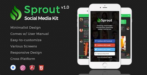 Sprout Minimalist Social Media App Template For Ionic Jogjafile Social Media App Template