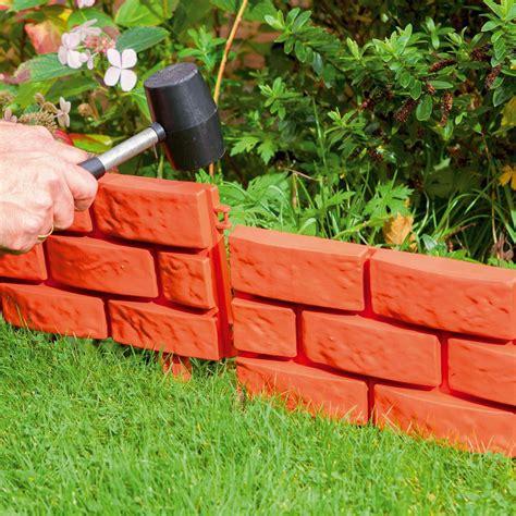 Bordure Jardin 69 brick effect garden patio lawn border edging plastic grey