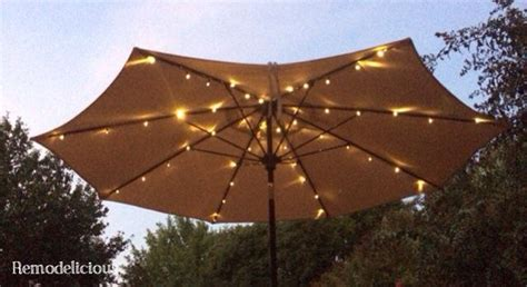 Patio Umbrella String Lights Patio Umbrella Solar Led Lights Finally Remodelicious