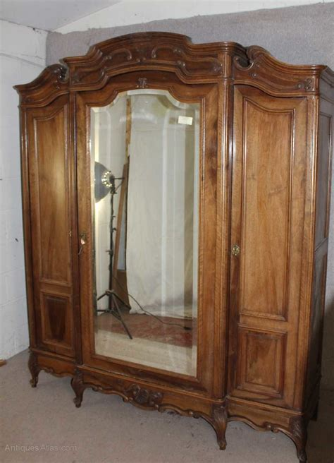 large carved louis xv walnut mirrored armoire antiques atlas