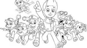 paw patrol paw patrol group colouring pages for preschoolers