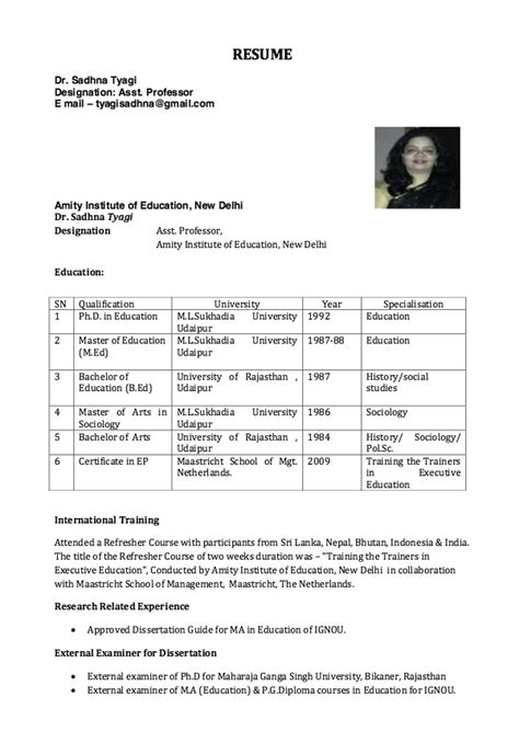 resume format for assistant professor resume for assistant professor free resume sle