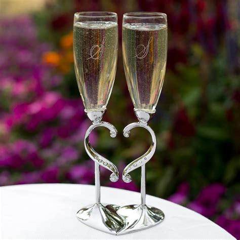 Personalized Wedding Toasting Flutes Linked Hearts