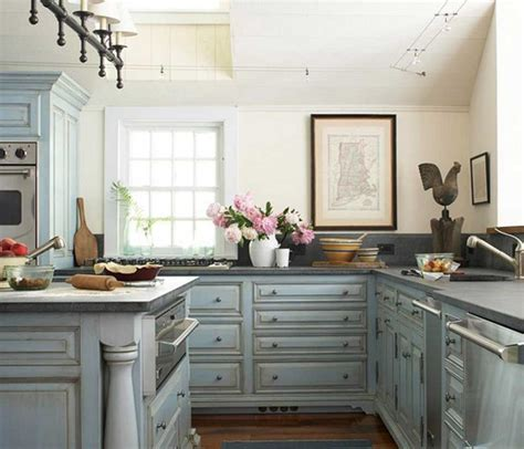blue painted kitchen cabinets shabby chic kitchen cabinets with blue color ideas home