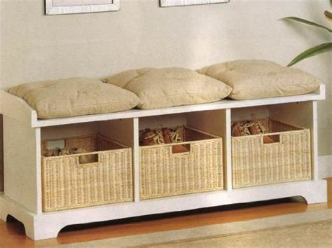 storage bench with cushion and baskets storage bench with cushion