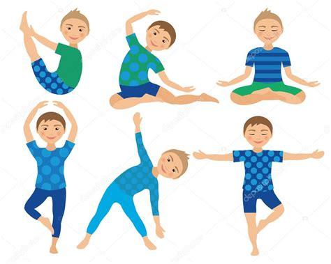 imagenes niños haciendo ejercicio ilustraci 243 n de vector de ni 241 os yoga poses ni 241 o haciendo